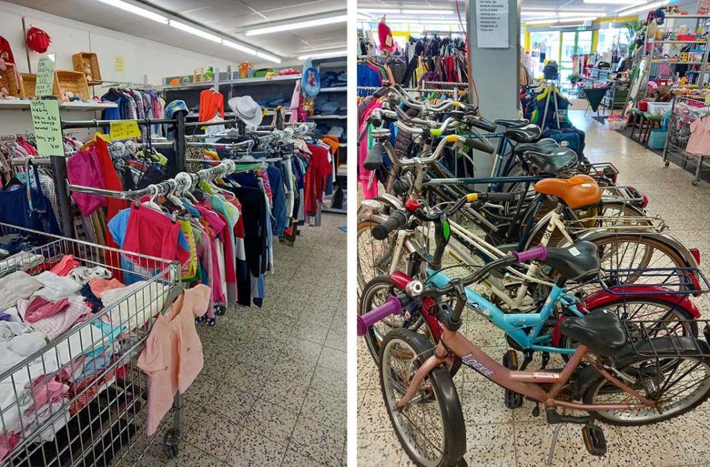 kleding en fietsen in de winkel